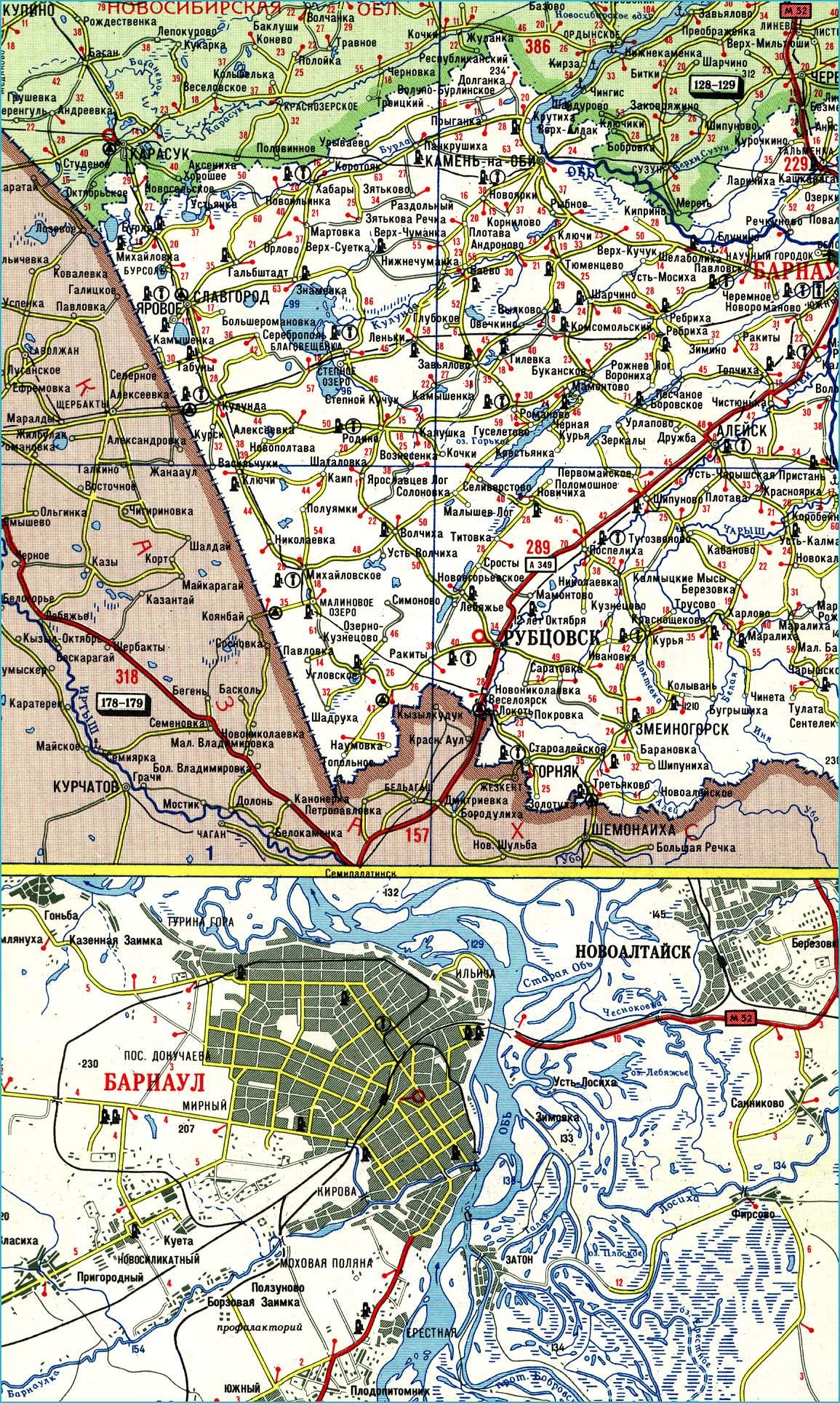 Карта Республики Алтай Подробная схема и со спутника
